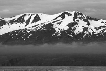 IJslandse bergen in zwart-wit