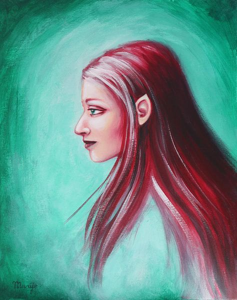 elf met rood haar van Marije du Bateau