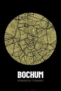 Bochum – City Map Design Stadtplan Karte (Grunge)