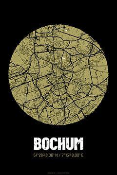 Bochum – City Map Design Stadtplan Karte (Grunge) von ViaMapia