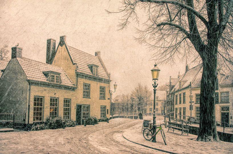 Winter op het Havik in historisch Amersfoort van Watze D. de Haan