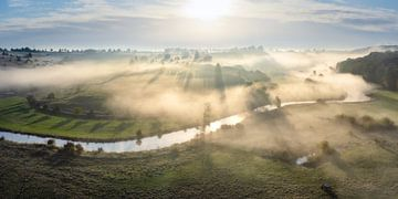 Nebel zum Sonnenaufgang im Eselsburger Tal mit Fluss Brenz bei Heidenheim von Daniel Pahmeier