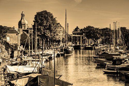 Haven van Dordrecht Nederland Sepia