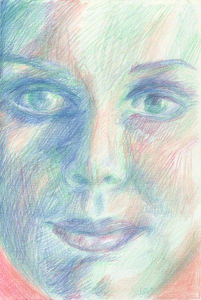 Pastel Portret van Eva van den Hamsvoort