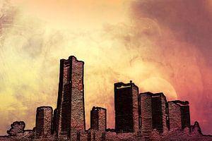 Skyline mit rot und gelb, digitale Bildbearbeitung