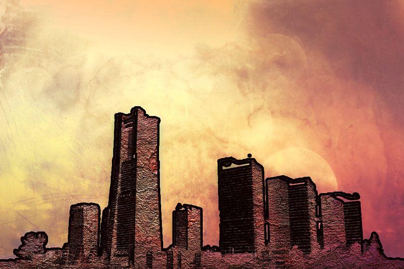 Skyline mit rot und gelb, digitale Bildbearbeitung  von Rietje Bulthuis