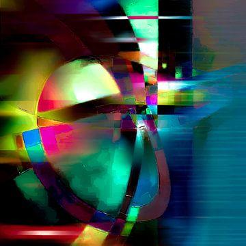 Modernes, abstraktes digitales Kunstwerk in Blau, Grün, Rot von Art By Dominic