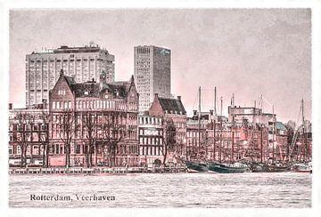 Oude ansichten: Rotterdam Veerhaven van Frans Blok