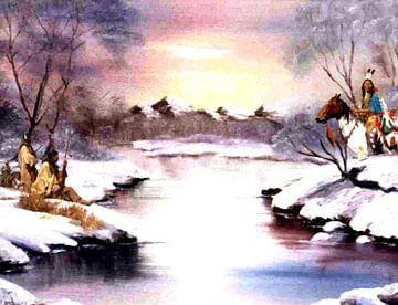 Bevroren oversteek in de winter met wachtende Indianen. Overgang van