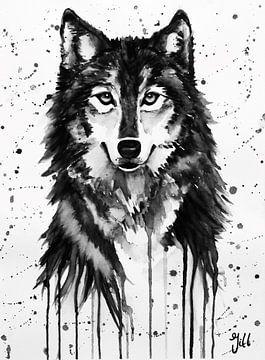 Wolf Aquarell schwarz/weiß von Bianca ter Riet