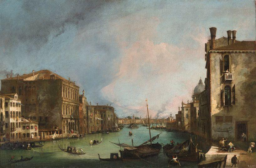 Het Canal Grande in Venetië met de Rialto-brug, Canaletto van Meesterlijcke Meesters