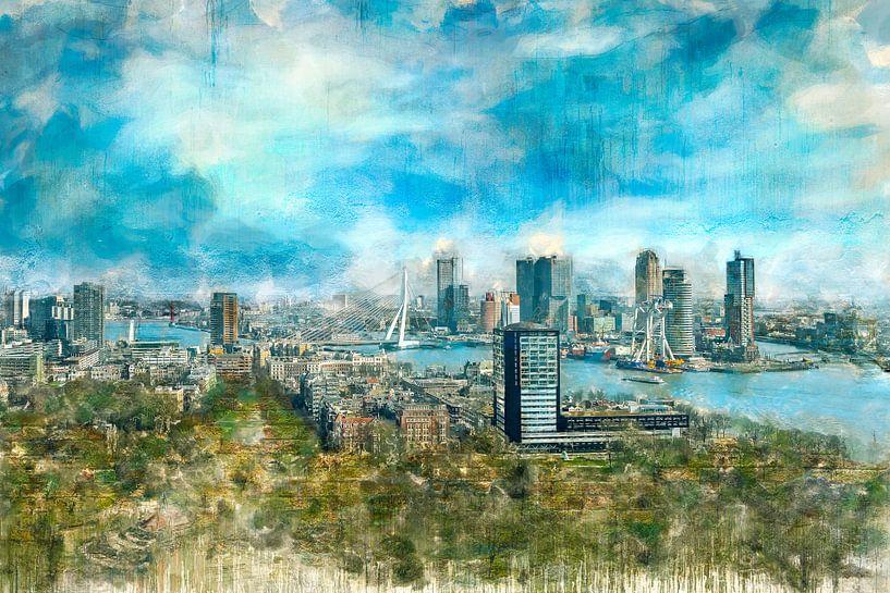 Geschilderde skyline van Rotterdam op bakstenen van Arjen Roos