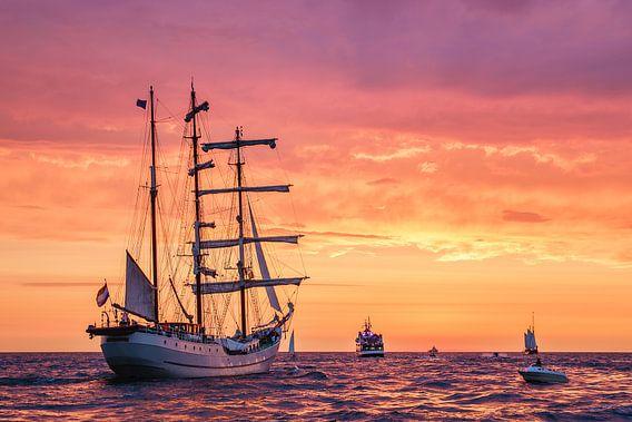 Sailing ship on the Baltic Sea van Rico Ködder