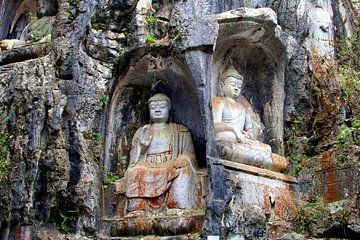 Antieke Boedha beelden in rotsen tempel, China van