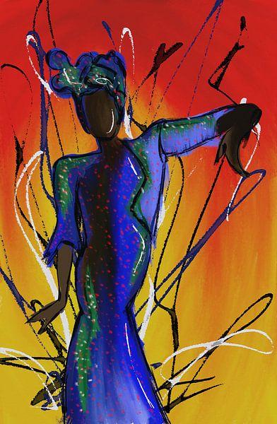 afrikanische Frau tanzt von Jolanda Janzen-Dekker