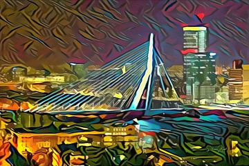 Kunstwerk van Rotterdam: Abstract geschilderde Erasmusbrug van Rotterdam van Slimme Kunst.nl
