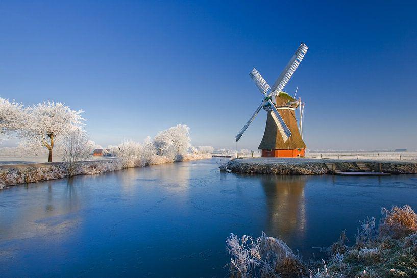 Winter bij de Kriminstermolen, zuidwolde, Groningen van Henk Meijer Photography