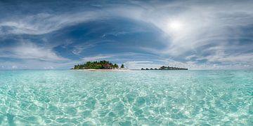 Eiland in de Malediven met strand en turquoise water van Fine Art Fotografie