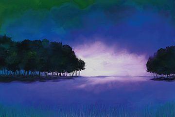 Minimalistisch landschap in mystische kleuren