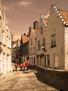 Straatje in Brugge   Belgie van Fons Bitter