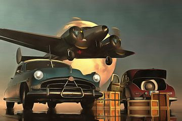 Old-timer auto's met vertrekkend vliegtuig van Jan Keteleer