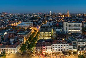 De skyline van Antwerpen in de nacht