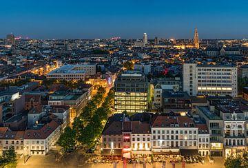 Die Antwerpen Skyline bei Nacht von MS Fotografie | Marc van der Stelt