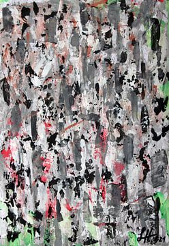 Schwaze und weiße zerlaufende Farbtupfer auf grau-weißem Grund von elha-Art