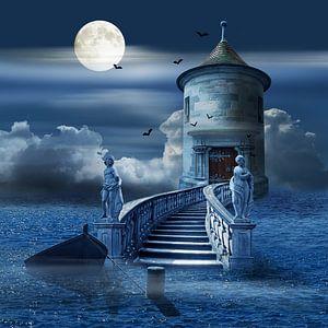 Mystieke kasteel op de zee