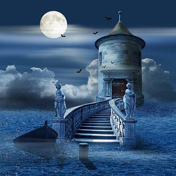 Mystieke kasteel op de zee van