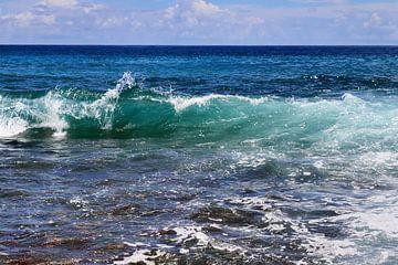 Turkooisblauwe watergolf in de Indische Oceaan in de Seychellen van MPfoto71
