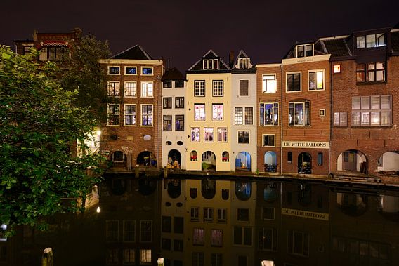 Oudegracht in Utrecht ter hoogte van de Lijnmarkt van Donker Utrecht