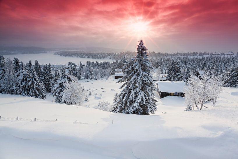 Sunrise in Sjusjøen near Lillehammer von Rob Kints