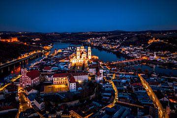 Luftaufnahme von Passau bei Nacht von Thilo Wagner