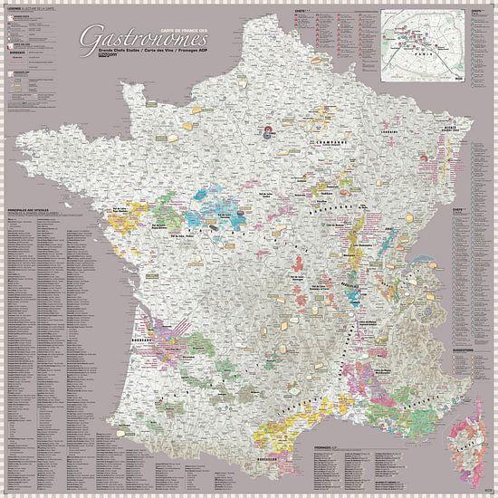 France Gastronomy Map, Grey