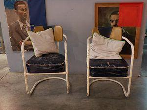 De 'wachtkamer' in een winkel in Antwerpen  van
