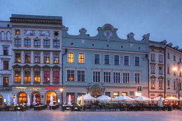 Alte Häuser, Abenddämmerung, Hauptmarkt, Krakau