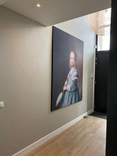 Klantfoto: Portret van een meisje in het blauw, Johannes Cornelisz. Verspronck van Meesterlijcke Meesters, op print op doek