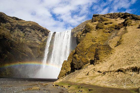Under the rainbow waterfall