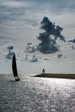 Hintergrundbeleuchtung und der Hafen von Stavoren in Friesland von Harrie Muis