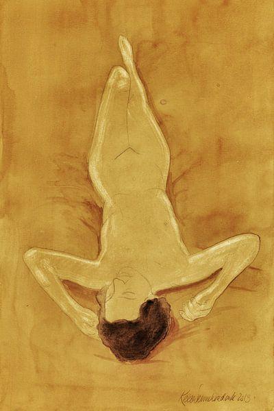 Naakt, liggend I, aquarel Kees Wennekendonk