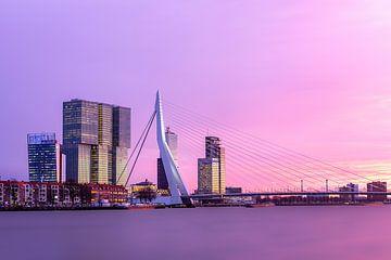 Sonnenuntergang Erasmusbrücke von den Boompjes in Rotterdam von Annette Roijaards