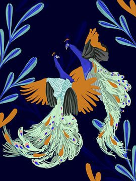 Dansende Pauwen van Goed Blauw