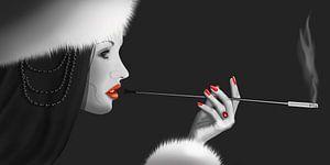 Lady Lady Ninotschka 2 ( Variante in Schwarz/Weiss mit Colorkey)) von