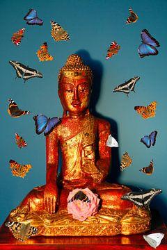 Boeddha omgeven door vlinders van Cora Unk