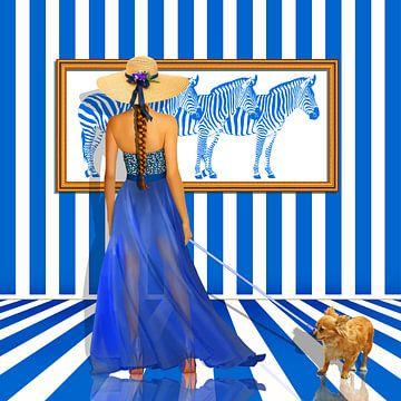 Serie: The Women's Quartet No. 2 blauw - wit van Monika Jüngling