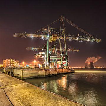 Containerterminal kraan met elektriciteitscentrale op achtergrond, Antwerpen 2 van Tony Vingerhoets