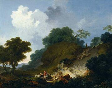 Landschap met herders en kudde herders, Jean-Honoré Fragonard
