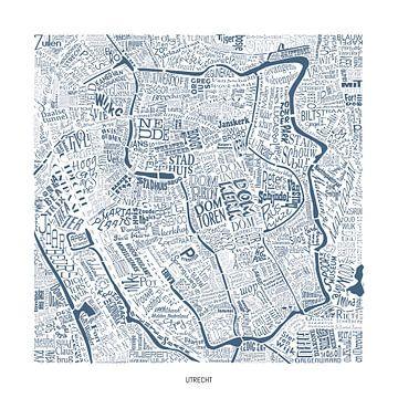 Utrecht plattegrond in straatnamen, uniek werk! van Vol van Kleur