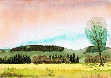 Landschap natuur - aquarel geschilderd door VK (Veit Kessler)